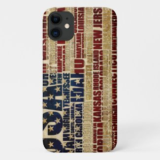 USA and its states in Stars and Stripes iPhone 11 Case