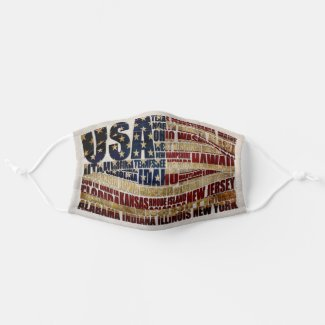 USA and its states in Stars and stripes Cloth Face Mask