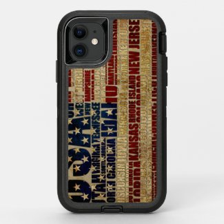 USA and its states in Stars and Stripes OtterBox Defender iPhone 11 Case