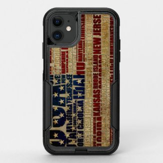 USA and its states in Stars and Stripes OtterBox Commuter iPhone 11 Case