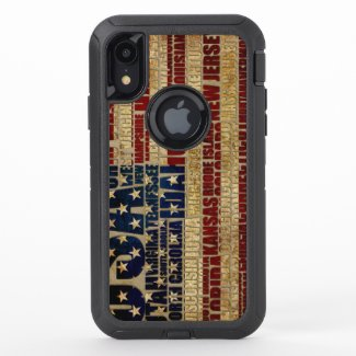 USA and its states in Stars and Stripes OtterBox Defender iPhone XR Case