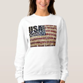 USA and its states in Stars and Stripes Sweatshirt