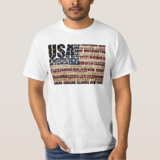 USA and its states in Stars and Stripes T-Shirt