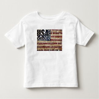 USA and its states in Stars and Stripes Toddler T-shirt