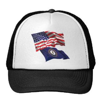 USA and Kentucky Flag Trucker Hat