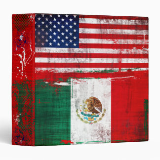 USA and Mexico Flags 3 Ring Binder