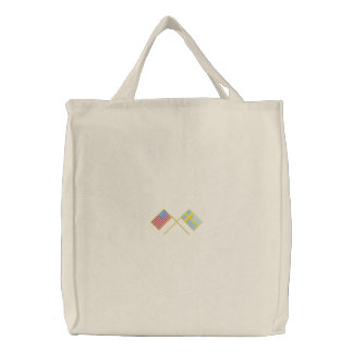 Usa and Sweden Embroidered Tote Bag