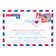 USA and UK Airmail Post Reception Custom Invitation Card