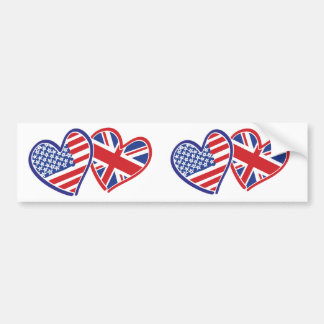 USA and UK Flag Hearts Bumper Stickers