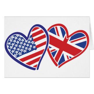 USA and UK Flag Hearts Card