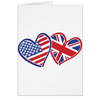 USA and UK Flag Hearts Cards