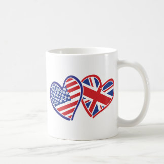 USA and UK Flag Hearts Coffee Mugs