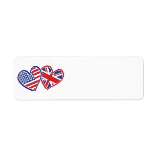 USA and UK Flag Hearts Label