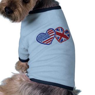 USA and UK Flag Hearts Pet Tee Shirt