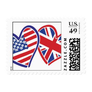 USA and UK Flag Hearts Postage