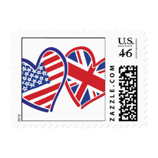 USA and UK Flag Hearts Postage Stamps