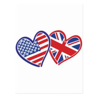 USA and UK Flag Hearts Postcard