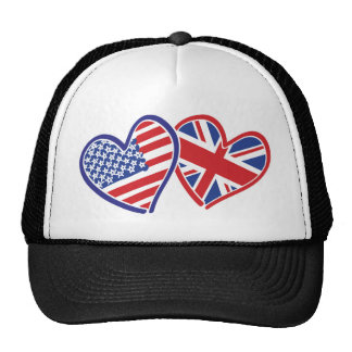 USA and UK Flag Hearts Trucker Hat