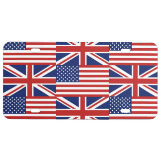 USA and UK Flags License Plate