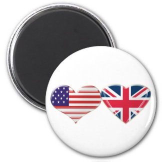 USA and UK Heart Flag Design 2 Inch Round Magnet