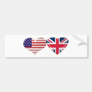 USA and UK Heart Flag Design Bumper Sticker
