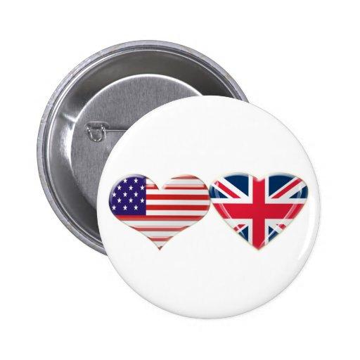 USA and UK Heart Flag Design Button