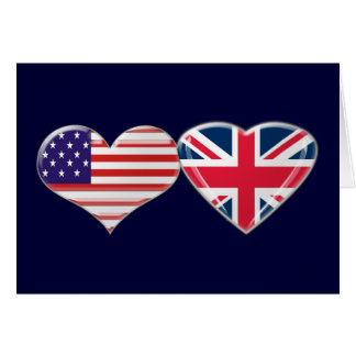 USA and UK Heart Flag Design Cards