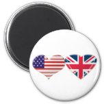 USA and UK Heart Flag Design Fridge Magnets