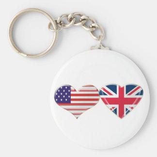 USA and UK Heart Flag Design Keychain