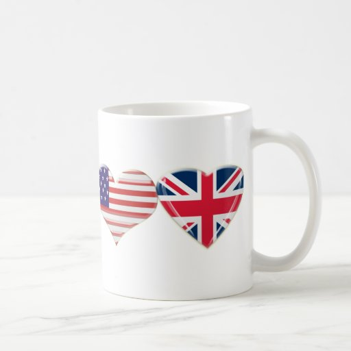 USA and UK Heart Flag Design Coffee Mug