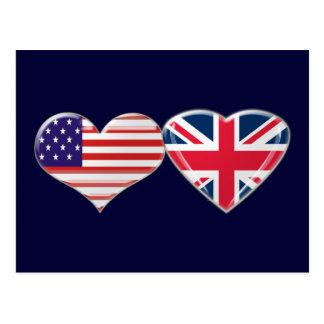 USA and UK Heart Flag Design Postcard
