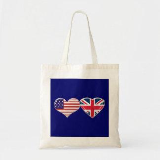 USA and UK Heart Flag Design Tote Bag