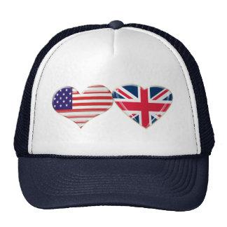 USA and UK Heart Flag Design Trucker Hat