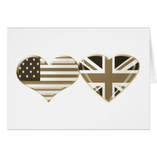 USA and UK Heart Flag Sepia Design Card