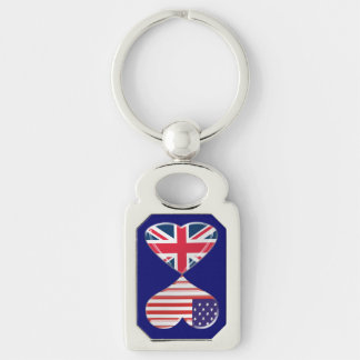 USA and UK Heart Flags Twisted Metal Key Chain Key Rings