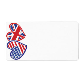 USA and UK Hearts and Flag Labels