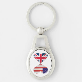 USA and UK Hearts Flags Twisted Metal Key Chain Keyring