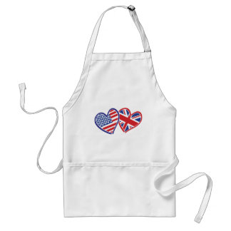 USA and UK In Hearts Showing the Love Adult Apron
