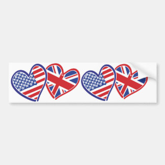 USA and UK In Hearts Showing the Love Bumper Sticker