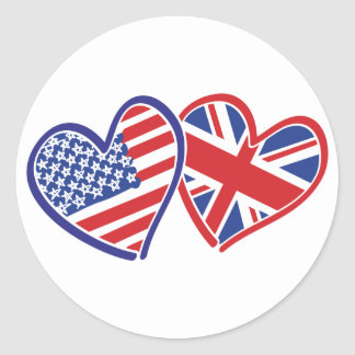 USA and UK In Hearts Showing the Love Classic Round Sticker
