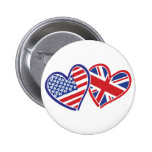 USA and UK In Hearts Showing the Love Pinback Button