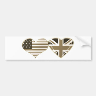 USA and UK Sepia Heart Flag Design Bumper Sticker