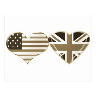 USA and UK Sepia Heart Flag Design Postcard