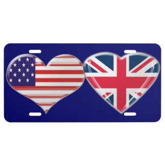 USA and Union Jack Heart Flag License Plate