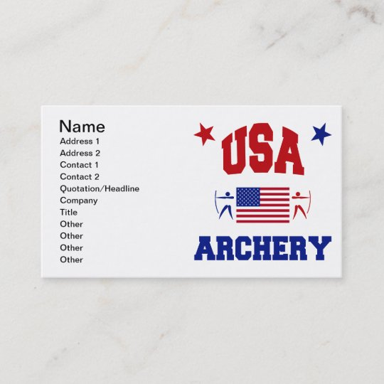 Usa Archery Business Card Zazzle