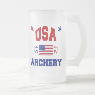USA Archery Frosted Glass Beer Mug