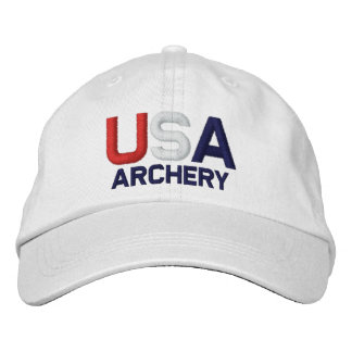 USA Archery Olympics Embroidered White Hat