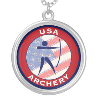 USA Archery Silver Plated Necklace