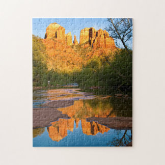 USA, Arizona. Cathedral Rock At Sunset Jigsaw Puzzle