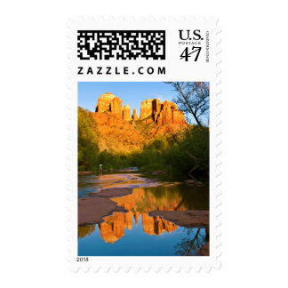 USA, Arizona. Cathedral Rock At Sunset Postage Stamp